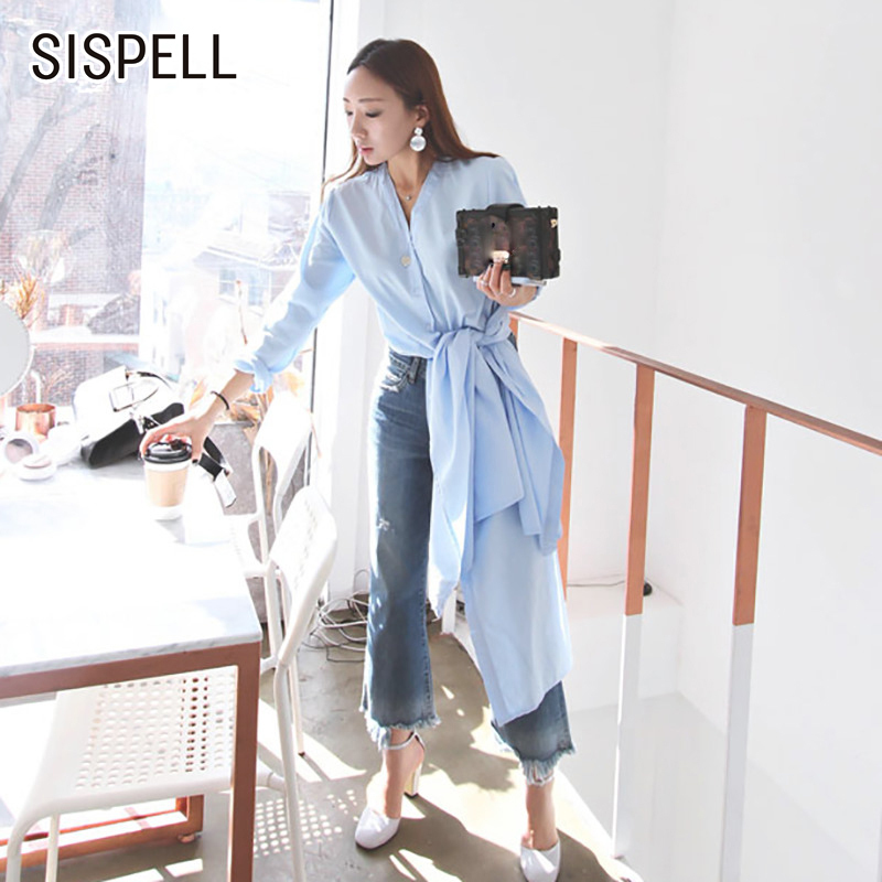 SISPELL Womens Shirts Blouses Long Sleeve 2019 Summer Casual Elegant V Neck High Split Top Female Shirt Korean Style Fashion New