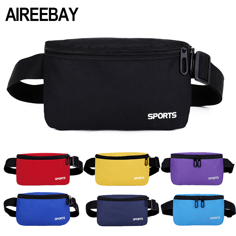 AIREEBAY Fanny Pack For Women Men Waist Bag Colorful Unisex Waist Pack New Fashion Female Belt Bag Male Zipper Bum Bag Hip Pouch