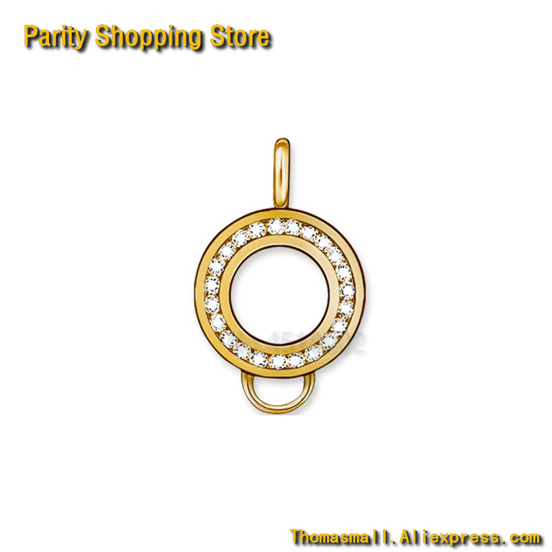 ThomasCR1147 Charm Carrier Round With Zirconia Gold Plated Size 2X1.5cm Euro-American style Carrier To TS Charm
