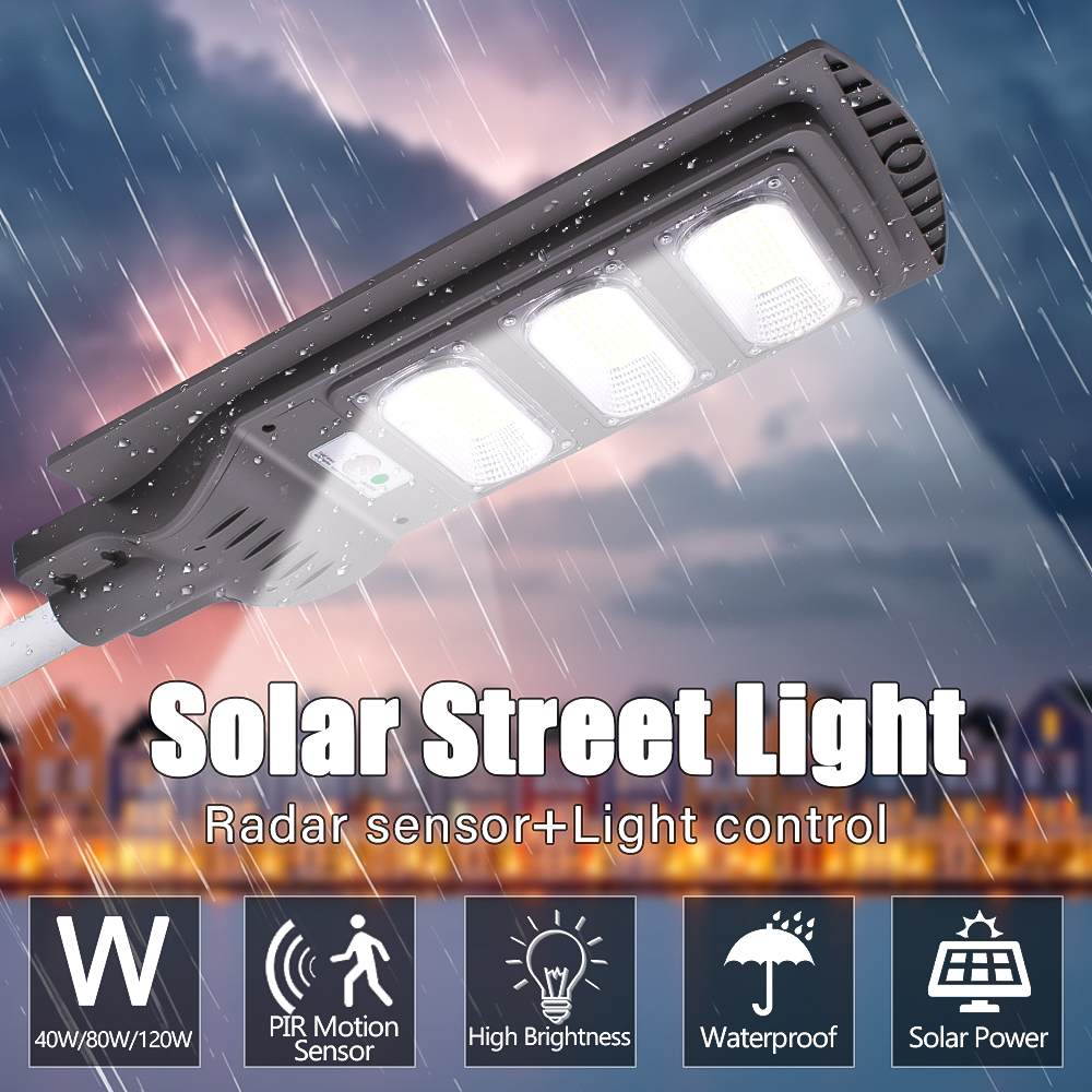 40W 80W120W LED Solar Street Lights Wall Lamp Light+Radar Induction+Timing Lamp Outdoor Waterproof Security Lamp For Garden Yard