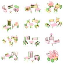3D кукольный домик, миниатюрный домик для детей, ролевые игры, игрушки, строительные блоки, Edutation, игрушки, наборы, детские деревянные куклы, мебель