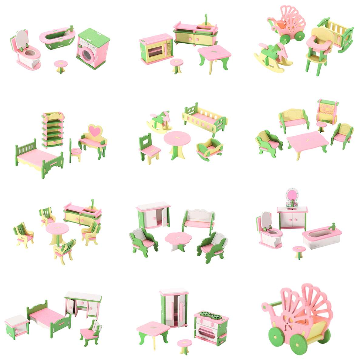 3D Dolls House Set Miniature House Kids Child Pretend Play Toys Building Blocks Edutation Toys Sets Baby Wooden Dolls Furniture(China)