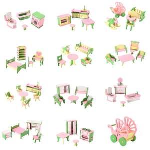 3D Poppen Huis Set Miniatuur Huis Kids Kind Pretend Play Speelgoed Bouwstenen Edutation Speelgoed Sets Baby Houten Poppen Meubels(China)
