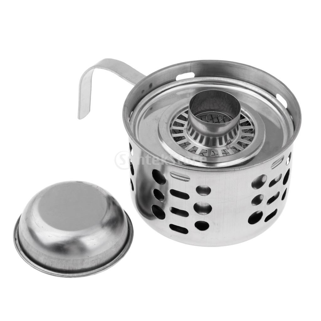 Portable Mini Camping Stove Stainless Steel Backpacking Liquid Alcohol Burner Spirit Furnace Outdoor Cooking Tool Windproof