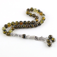 Chapelet musulman Original en pierre naturelle de 8mm, 33 perles, pour prière islamique Tasby Allah, Tesbih