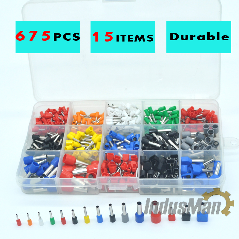 675pcs/Kit cable connector splice insulated terminal block kit wire cable ferrules crimp Pin end terminal from 22-8AWG pedipaws pet nail trimmer