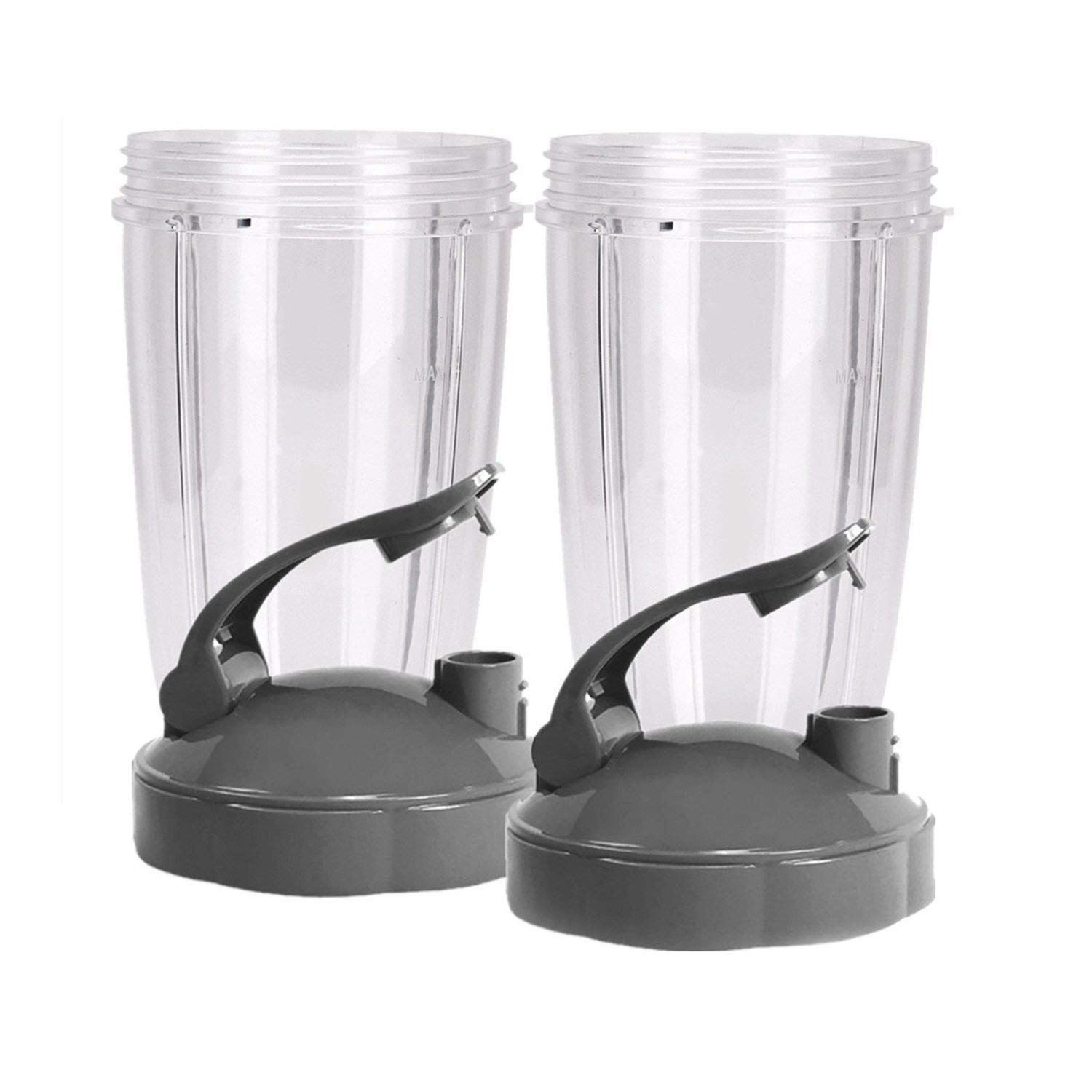 Replacement Parts & Accessories Fits Nutri 600w and Pro 900 w Blender 24 Ounce Cups with Flip Top To Go Lid (Pack of 2) Nutri|Juicer Parts| |  - title=