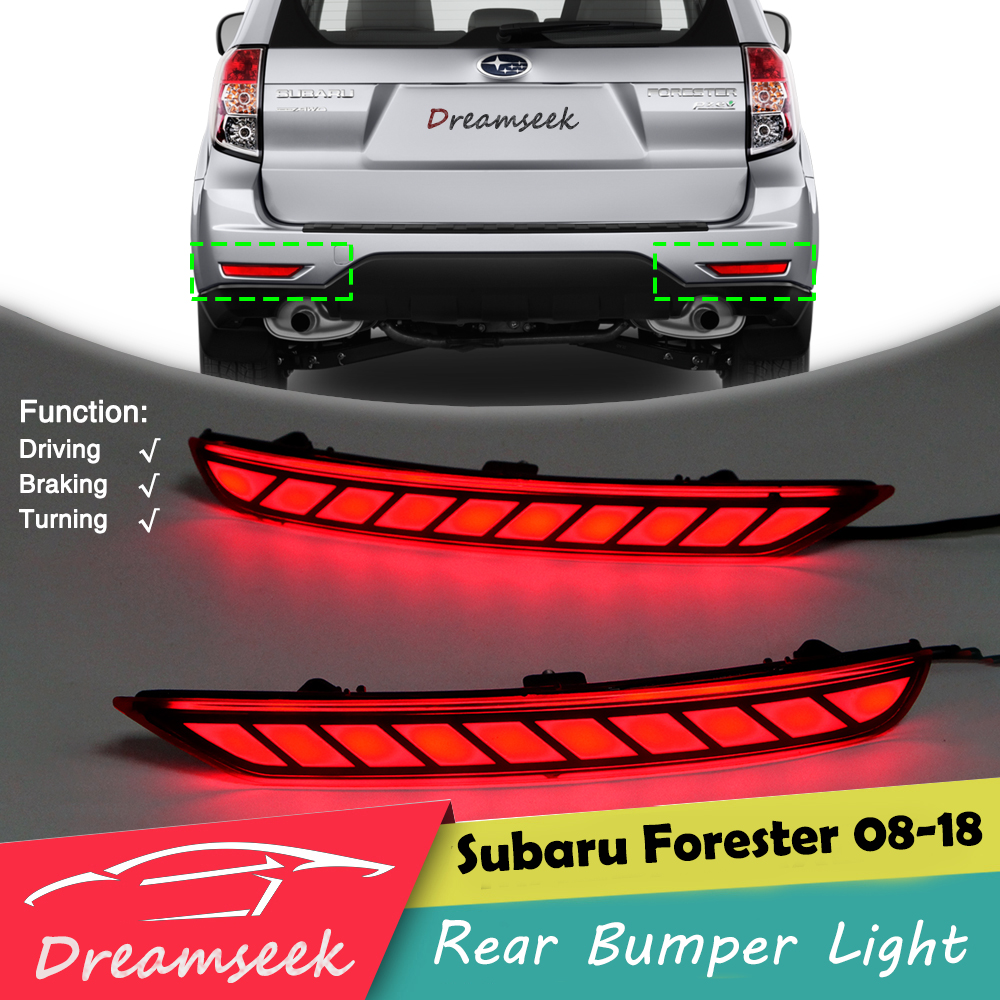 For Subaru Forester 2008 2018 Red LED Rear Bumper Tail Light Driving Lamp Brake Signal Taillight Turning Lights
