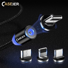 CASEIER Magnetic Cable For Apple iPhone X XR XS Max 8 7 6 Type C Micro Usb Samsung S9 1m LED Braid Magnet Charge