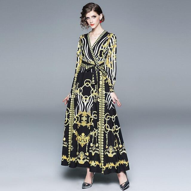 b8a2afaf57f5 2019 Spring Women Baroque Dress Long Sleeve Black Gold Print Zebra Bow  Laces Summer Sleeping Gown Floral Maxi Runway Dress