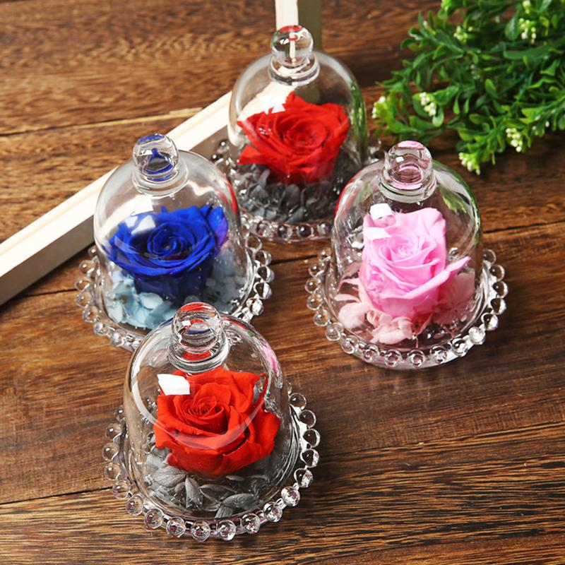 AUGKUN Glass Cover Fresh Preserved Rose Flower Foil Barbed Rose Flores For Wedding Home Party Decoration Valentine's Day Gift