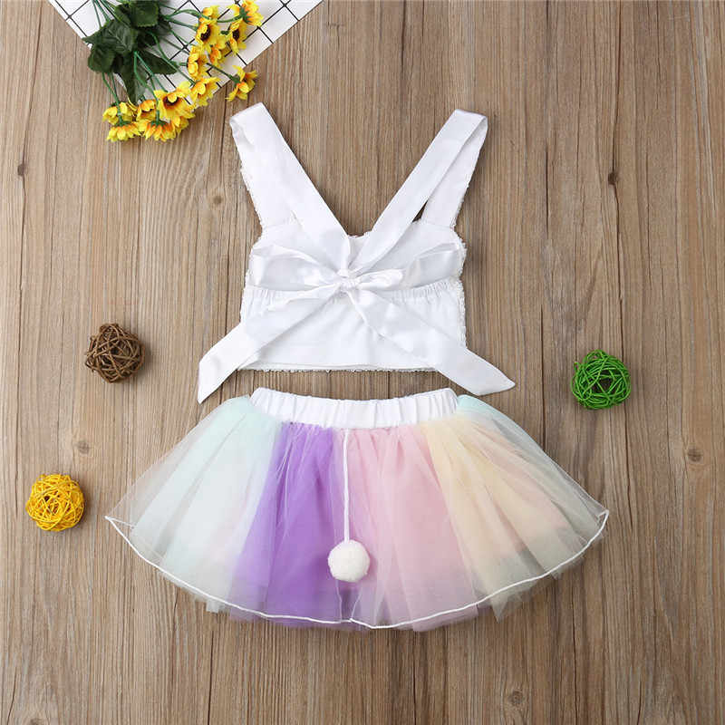 ba5bc5f4c431 ... Lovely Kids Baby Girls Princess Outfits Fancy Sleeveless Sequins Bunny Crop  Tops Tutu Tulle Skirt 2Pcs