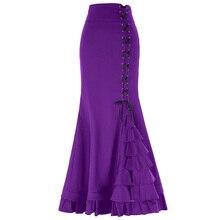 d3deddda85 Vintage gótico corsé victoriano cola Falda larga sirena falda negro(China)