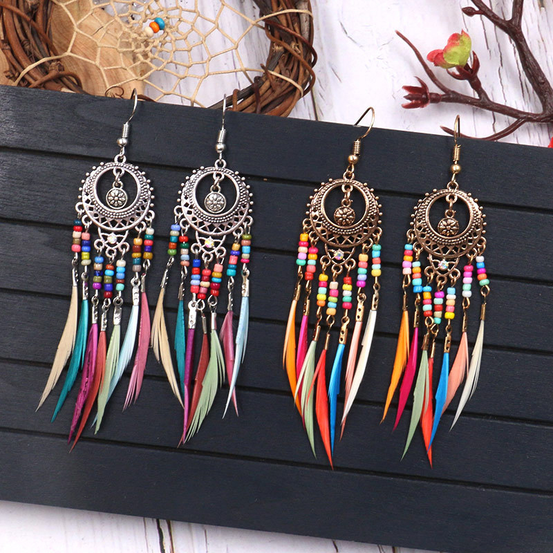 Drop Earrings Graceful Oval Girls 1Pair Hollow Out Dangle Golden Silver Vintage Ethnic Rainbow Colors 7 Colour Measle Feather