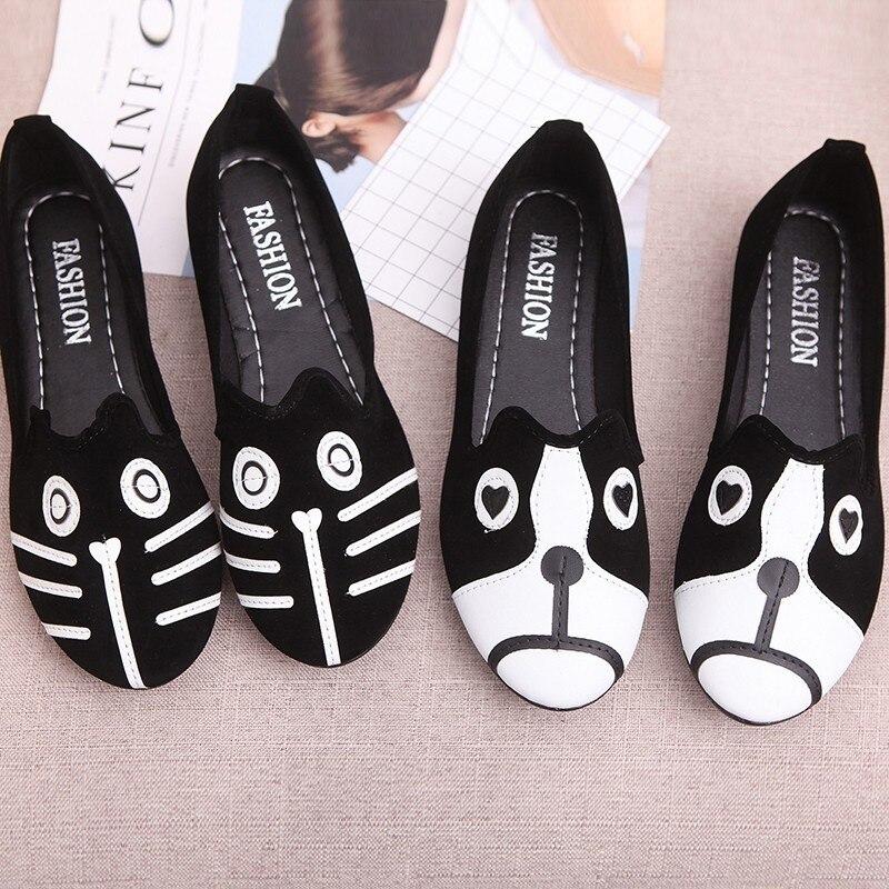 Chaussures on dog Femme Bande cat Dessinée Mode Appartements Automne Arrivée Femelle Dog Léger Femmes Mocassins Dames Printemps De And Casual Cat Mignon Nouvelle Slip qRxC7pqYw