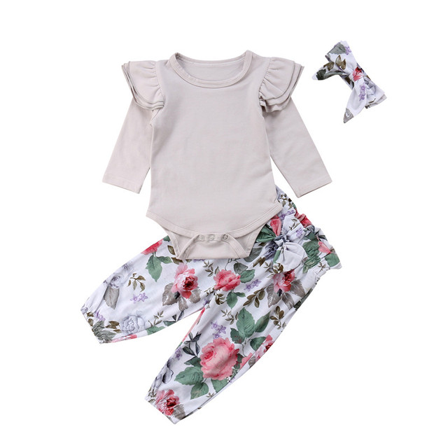 59ab0024d8 Newborn Infant Baby Girl Floral Clothes Ruffles Jumpsuit Romper Bodysuit  Pant Outfit Set