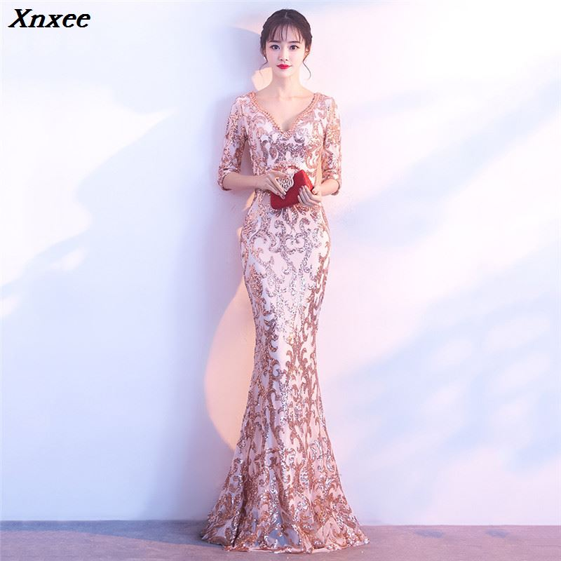Xnxee Celebrity Party Dresses Champagne Gold Sequined Half Sleeve Long Mermaid Slim Women Elegant Party Dress