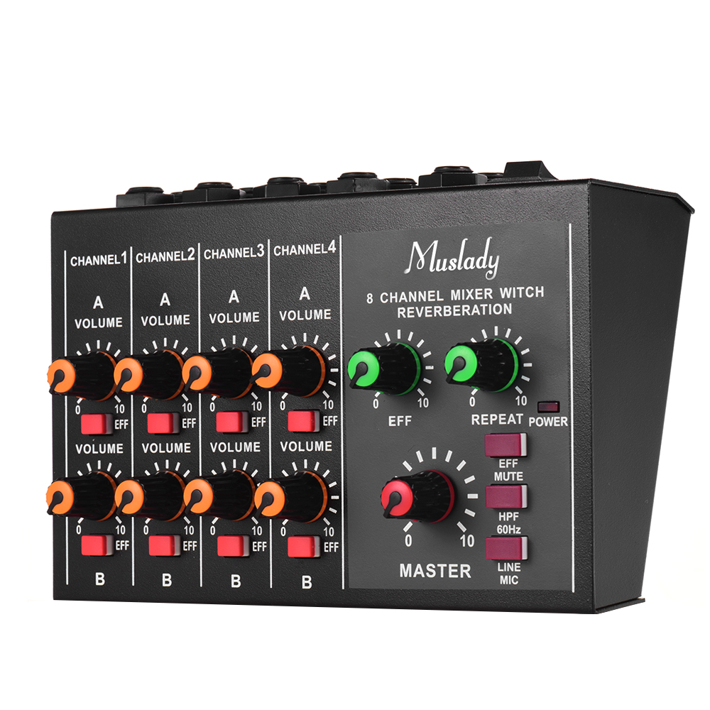 Muslady M 228A Compact Size 8 channel Mono Stereo Audio Sound Mixer with Reverberation Function 60Hz