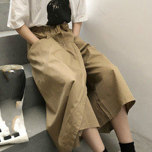 Summer Women Wide Leg Pants Casual Trousers Elastic Waist 2019 Vintage Loose Casual Solid Pants Capri недорого