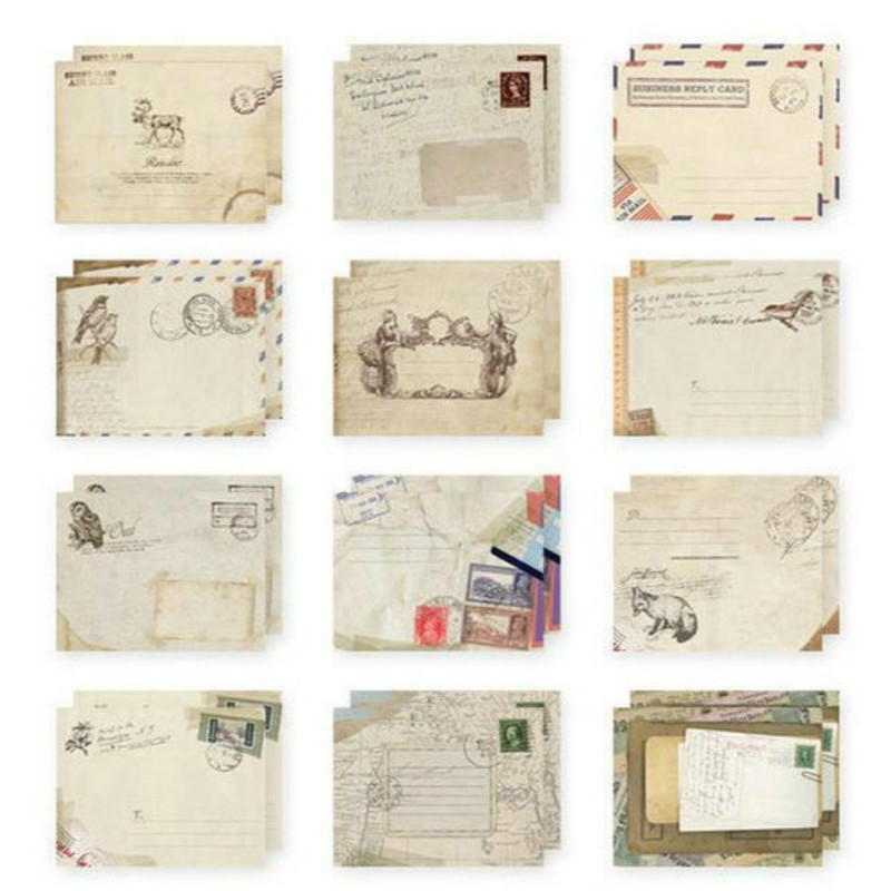 1 Set di 12 Disegni Busta di Carta Carino Mini Buste Vintage Stile Europeo Per Carta di Scrapbooking Regalo di Cancelleria 03210