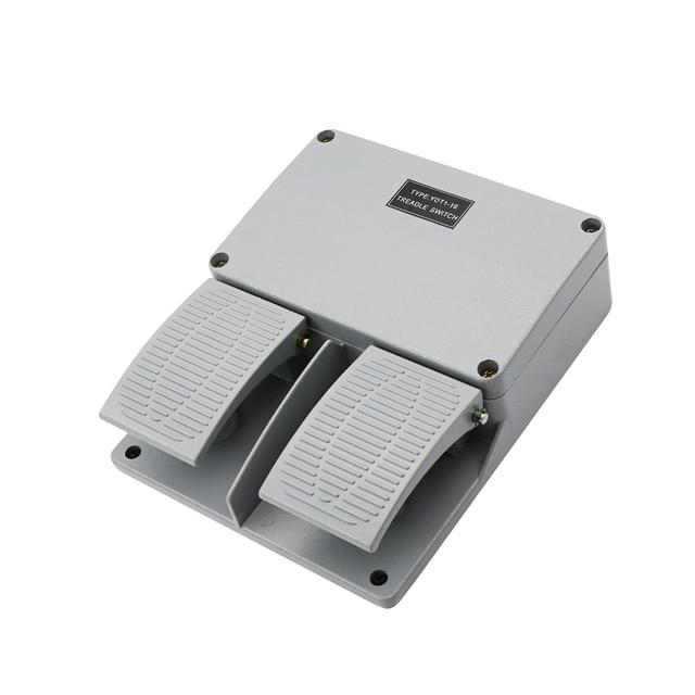 מתג רגל YDT1 16 אלומיניום מעטפת אפור כפול דוושת מתג מכונה כלי אביזרי מתג