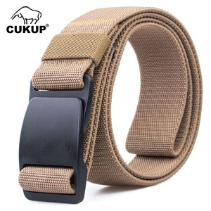 Image 5 - CUKUP Mens Brand Unisex Design Quality Hard Plastic Buckle Belt Man Quality Canvas Elastic Waistband Casual Belts Men CBCK120