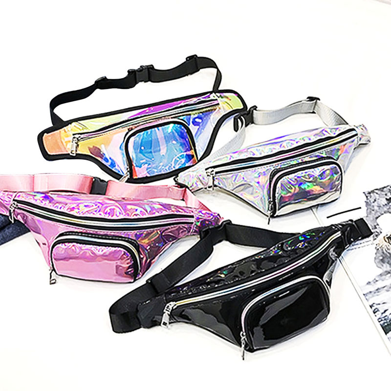 New 2019 Women Fanny Rainbow Transparent Belt Bag Shiny Neon Laser PVC Holographic Hologram Waist Packs Shoulder Punk Hip Sports