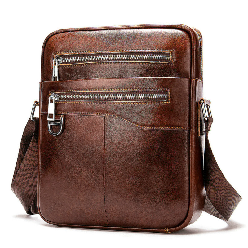 Casual Men Briefcase Cowhide Leather Business Bag Male Vintage Men's Messenger Bag Small Shoulder Bags Crossbody Bags For Men