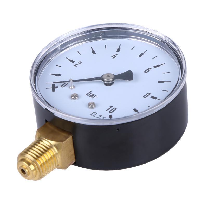 "1/4"" NPT Side Mount 2.3"" Face 10 Bar Compressor Compressed Air Compressor Pressure Hydraulic Gauge Manometer Diagnostic Tools"