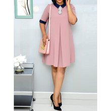 Summer Retro Women Short Dresses Casual Work Wear Office Lady Pink Plus Size Elegant Aline Female Fashion Vintage Chiffon Dress
