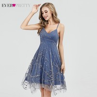 Sweet Homecoming Dresses Short Ever Pretty A Line V Neck Spaghetti Strap Graduation Dresses EP03086DL Mezuniyet Elbiseleri 2019