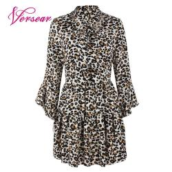 Versear Women Leopard Print Dress Sexy V Neck Bow Tie Long Flare Sleeve Spliced Ruffle Party Mini Dress Autumn OL Fashion Dress 6