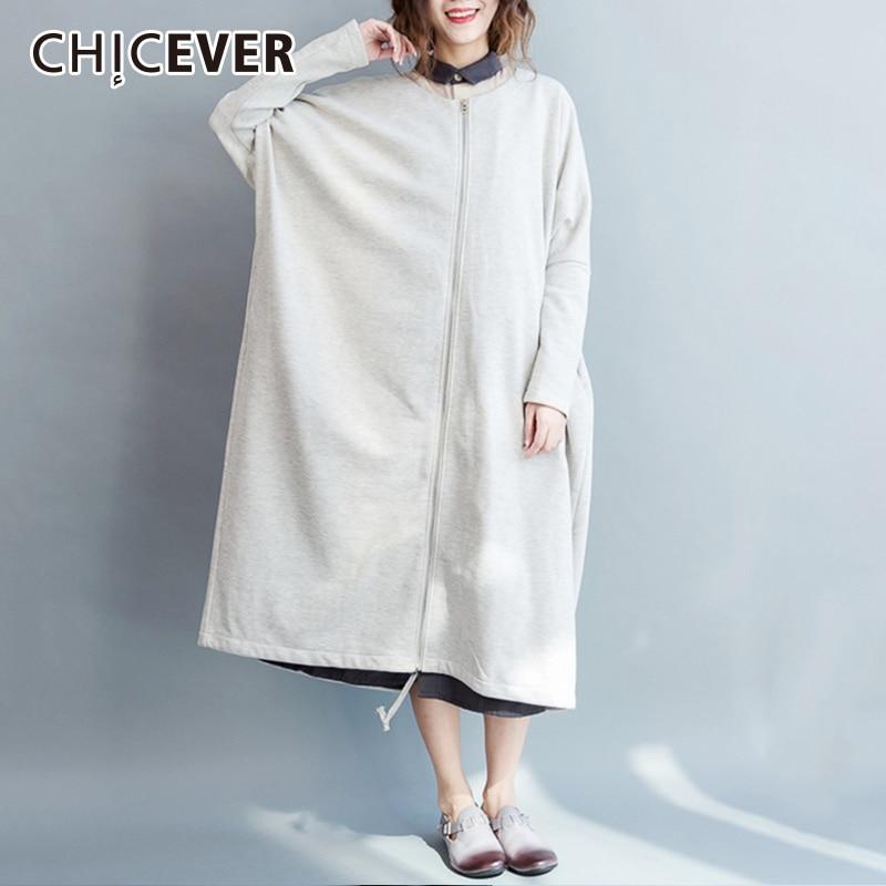CHICEVER Women's   Trench   Coat Loose Oversize O neck Zippers Autumn Long Windbreakers Woman Coat 2018 Korean Fashion Tide New