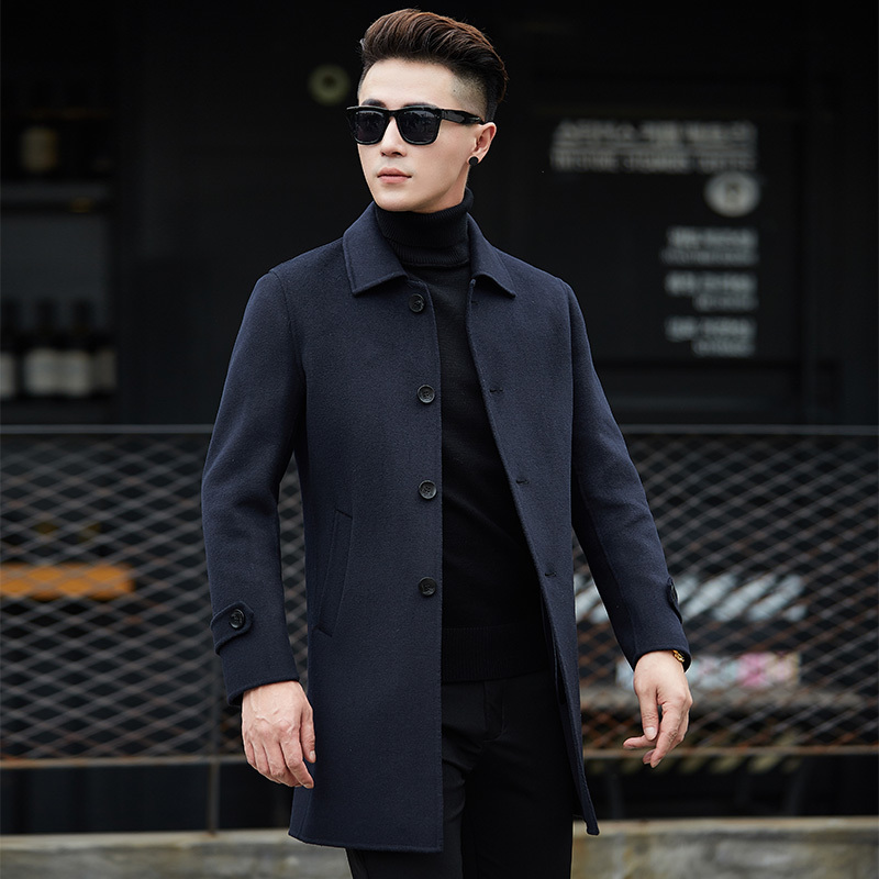 new brand single-breasted wool coat 2018 winter thick warm warm luxury business casual men's slim jacket coat black gray