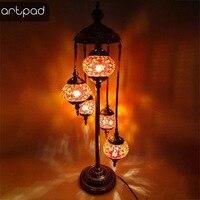 Artpad турецкий стиль ретро Торшеры для Спальня Декор в гостиную мозаика стекло светодиодный тенты LED Винтаж лампы в турецком стиле с вилкой