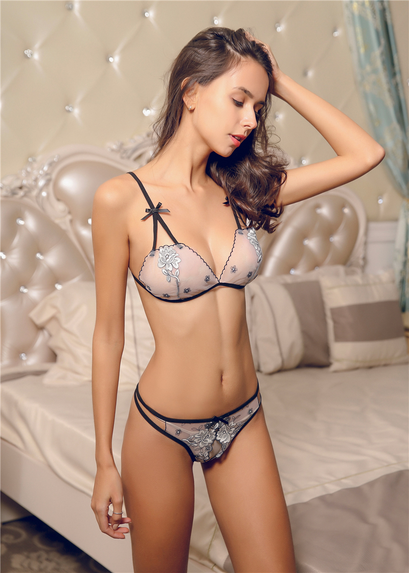 Image 5 - Fluorescence Ultra thin French Women Lace Embroidery Sexy Bra Open Crotch Panty Underwear Set Three point Thong Lingerie Suit-in Bra & Brief Sets from Underwear & Sleepwears