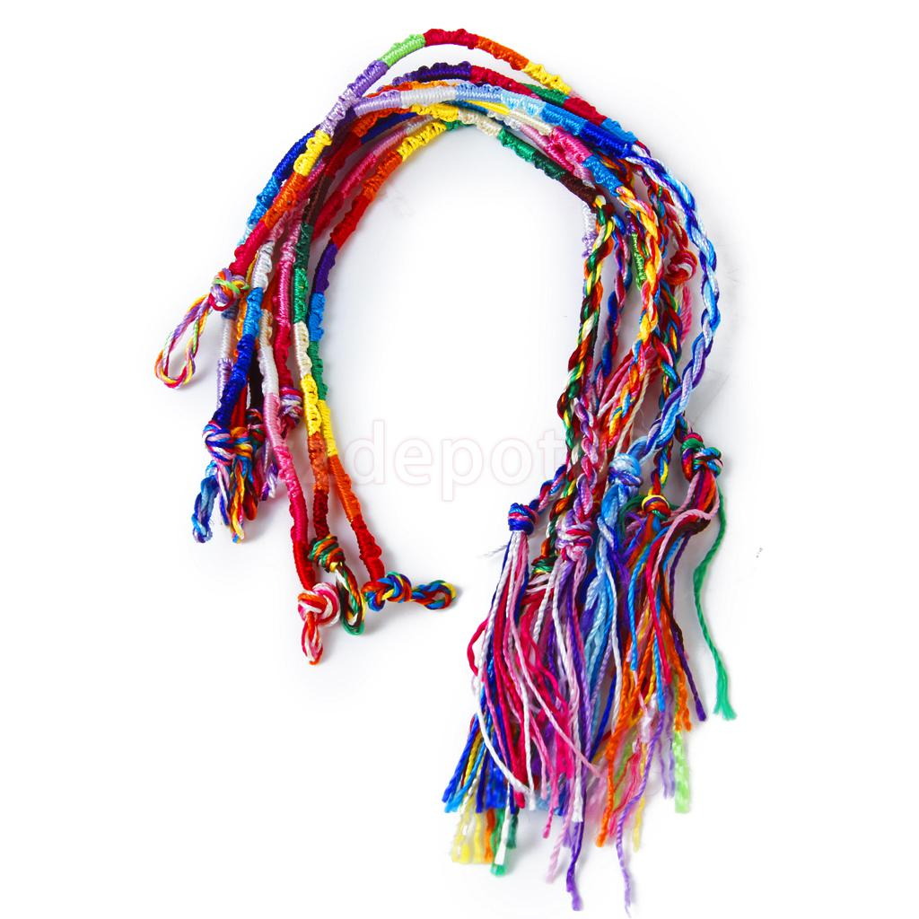 New 2014 Brand New 9 Colorful Handmade Braided Thread Friendship Bracelets Ankle Bracelet Hippie #2 (Random Color)