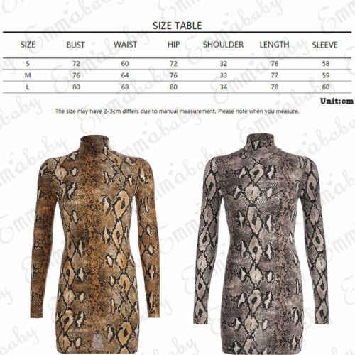 Seksi Elbise 2019 Yeni Stil kadın Hayvan Yılan Cilt Baskı Bodycon Tunik Elbise Streç Yüksek Boyun Mini Elbise