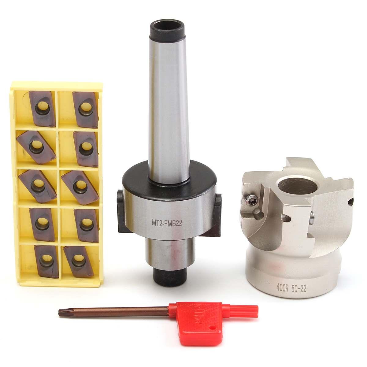 Fraise MT2 M10 Visage Fin 50mm + 10 pièces Carbure Insert APMT1604 CNC Fraise Fraise Insert Kit De Machine-Outil