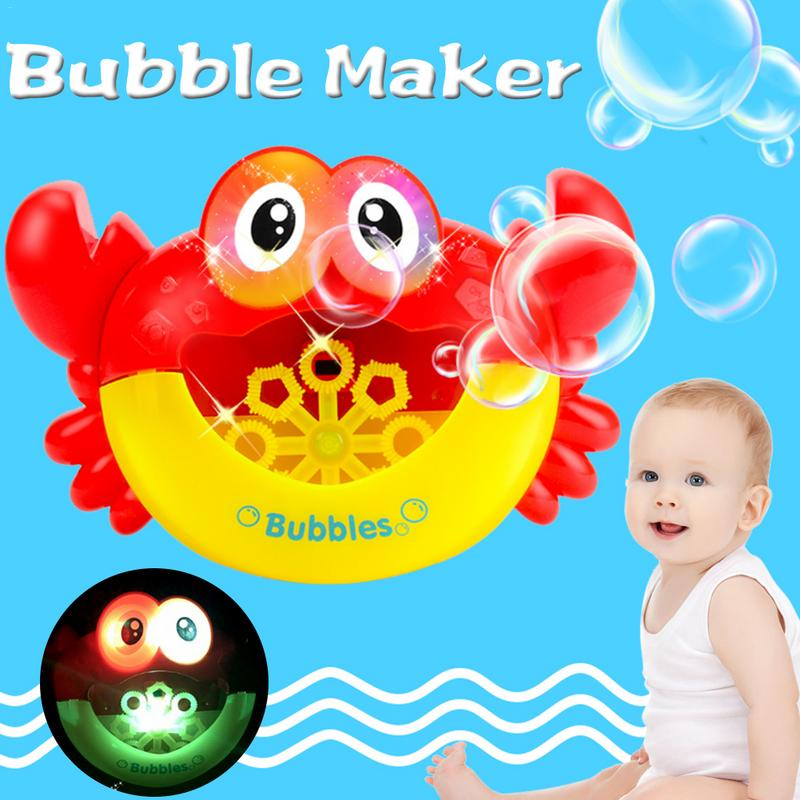 Baby Bubble Maker Crab Bath Toy Cartoon Light Music Funny Foaming Toy Blower Bubble Water Machine For Toddler Kid Boy Girl Bath
