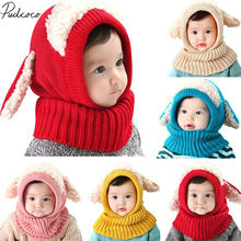 2018 Brand New Autumn Winter Warm Cute Baby Knit Beanie Sheep Hat Cotton Cartoon Scarf Earflap Knitted Cloaks Woollen Caps(China)