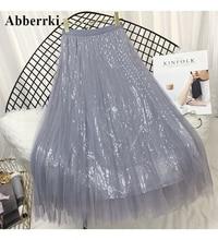 Fashion High Waist Sequins Skirts Womens Mesh Midi Skirt Faldas Mujer  Long Skirt Saia цена