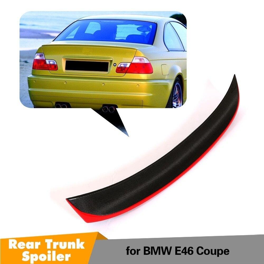 Becquet d'aile arrière de coffre pour BMW E46 Base Coupe 2 portes 1998-2005 becquet de lèvre de coffre en Fiber de carbone avec Center de peinture rouge