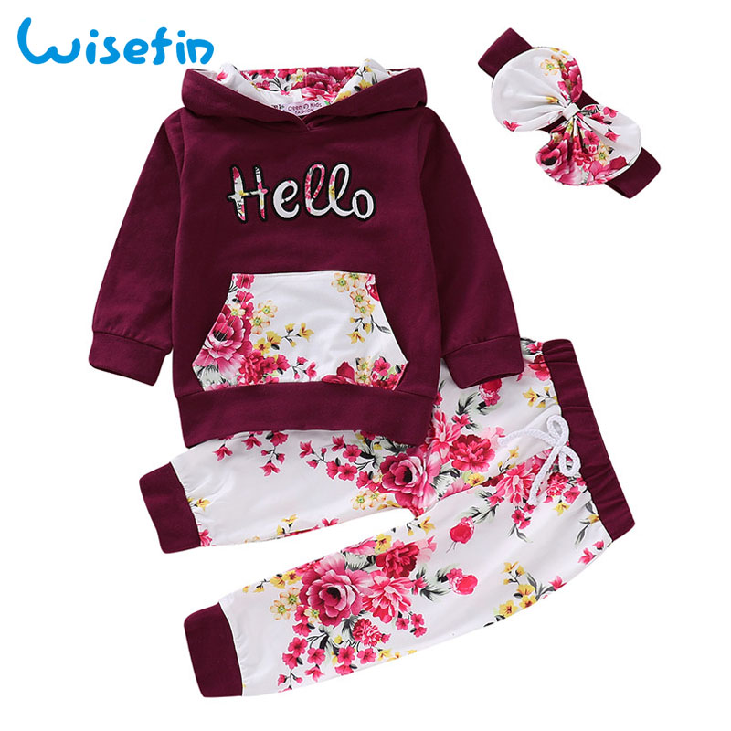 Wisefin Ladies Garments Set Winter Toddler Woman Garments Child Floral Outfit Hooded Prime+Leggings Pants Headband Youngsters Clothes Set Clothes Units, Low-cost Clothes Units, Wisefin Ladies Garments Set Winter Toddler...