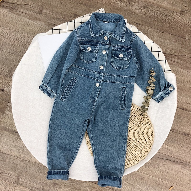 2019 Spring Autumn Unisex Jumpsuit Kids Clothing Romper Casual Lapel For Girls Boys Denim Overalls Girls Toddler Baby Clothes
