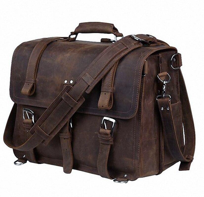"""Vintage Crazy Horse cuero genuino hombres maletín bolsa de negocios grandes maletines de cuero hombres 15,6 """"Laptop Case bolsos de hombro M086 #-in Carteras from Maletas y bolsas    1"""