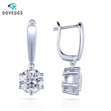 Genuine18K 750 White Gold 4 Carat ct No Less Than GH Color Lab Grown Moissanite Diamond Earrings For Women