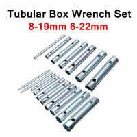 6PC/10PC 8-19mm 6-22mm Metric Tubular Box Wrench Set Tube Bar Spark-Plug Spanner for Automotive Plumb Repair Steel Double Ended