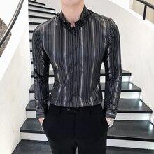 Модная Золотая полосатая сорочка Imprim Homme Клубные рубашки для мужчин d Повседневная Корейская одежда Camisas Повседневная мужская одежда высокого качества