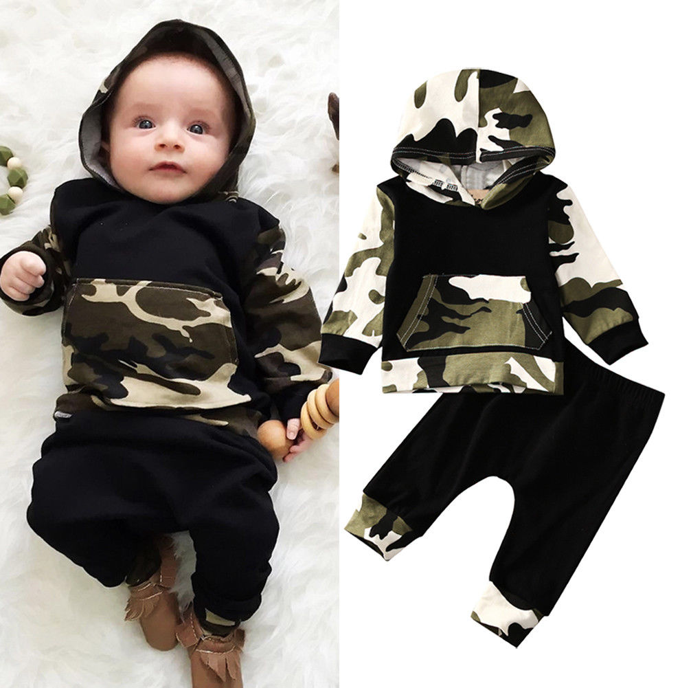 Pudcoco Boy Set 0-3Y USA Casual Toddler Baby Kids Boy Hooded Tops Pants 2Pcs Outfits Set Clothes